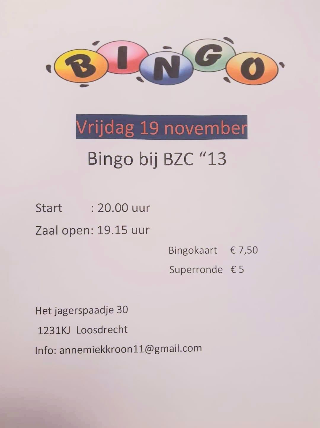 Bingo vrijdag 19 November